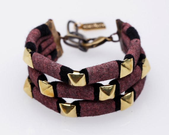 Studded Cuff Bracelet in Rose on Black