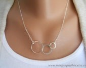 Sterling Silver Triple Circle Necklace - Suspended on Sterling Silver Cable Chain - Dainty Modern Necklace - morganprather