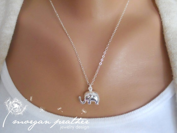Elephant Sterling Silver Necklace - Cute Little Elephant Charm - Perfect Gift - morganprather