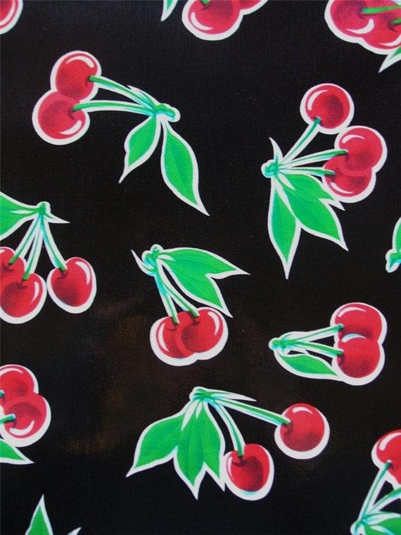 "Black Cherry Cherries Mexican Oil Cloth Vinyl Fabric 36"" x 47"" Wide"
