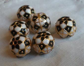 Enamel Black White and Gold Beads Harlequin 9mm