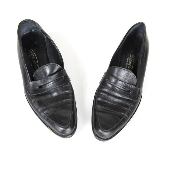 Black Leather Preppy Oxfords Penny Loafers Winklepickers (6)