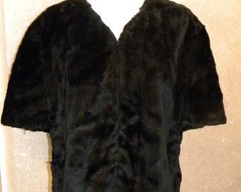 Vintage Black Faux Fur Stole - 1960s Black Vegan Fur Capelet Cape Stole