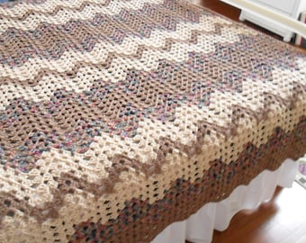 Crocheted Afghan (Queen) - Blanket - Bedspread - Throw   ''CONTEMPORARY GRANNY RIPPLE''   in Browns and Tans