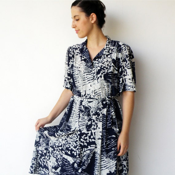 Vintage late 1970s Spray Paint Day Dress