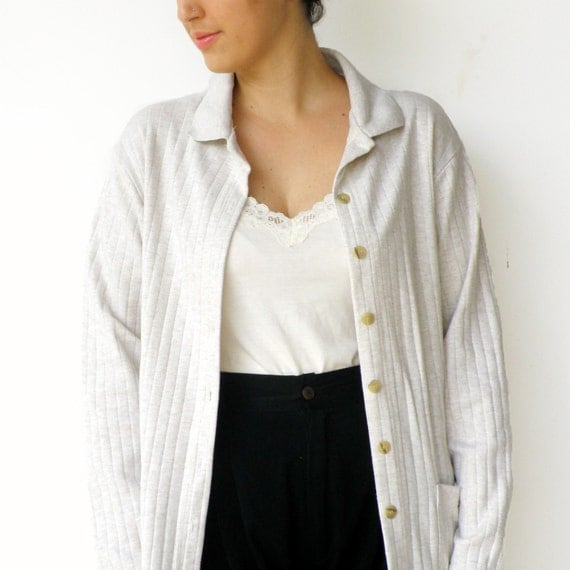 Vintage 1980s Textured Cotton Off White Cardigan / Size L