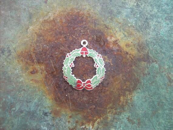 Christmas Wreath Necklace Charm Vintage Enamel Sterling Sliver