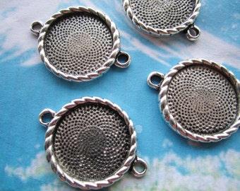 10pcs tibetan silver round bezel base metal setting connectors