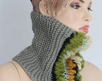 Fall Fashion -Pale Olive Hand Knit Cowl Scarf - Neck Warmer - Winter Accessories