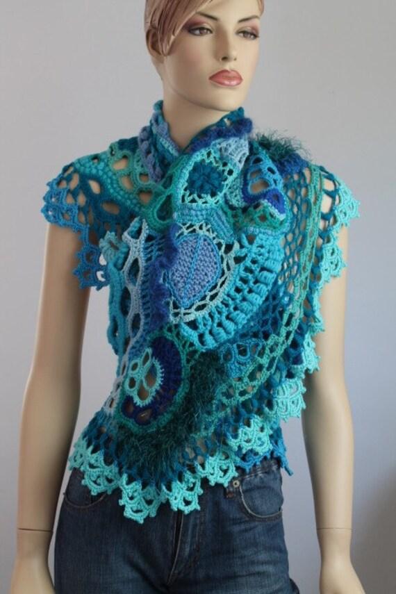 Blue Turquoise Freeform Crochet  Scarf Shawl / Wearable Art / OOAK