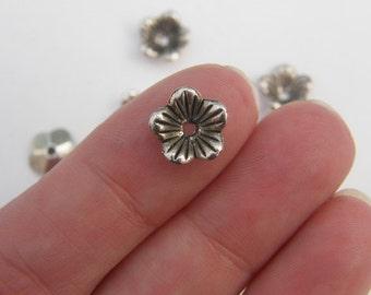 BULK 300 Flower bead caps antique silver tone CAP2