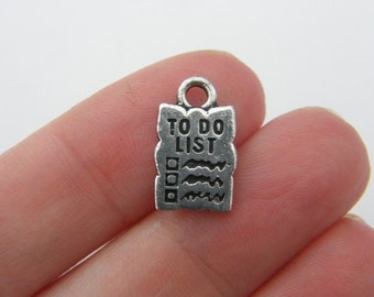 4 To do list charms antique silver tone P135