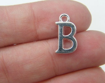 BULK 30 Letter B alphabet charms 16 x 9m silver plated