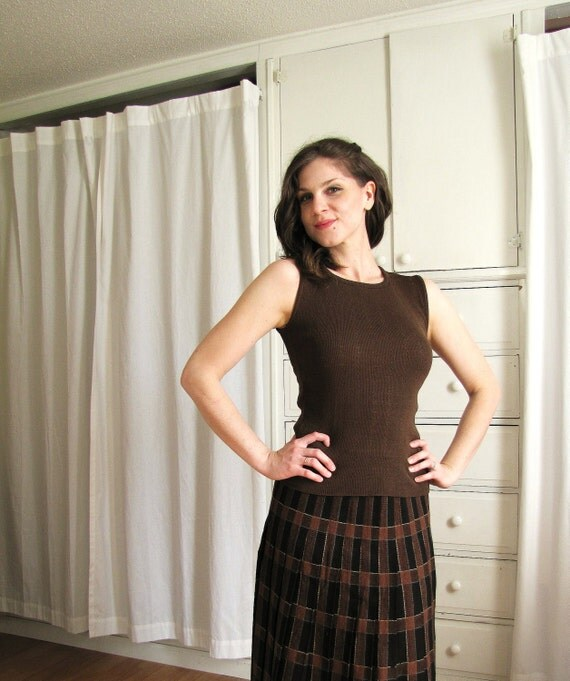 Vintage 1960's Brown Pointelle Knit Shell Blouse