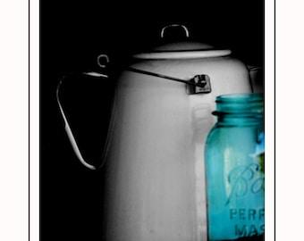 Yesteryear 8x10 Still Life Photograph - vintage pitcher blue mason jar