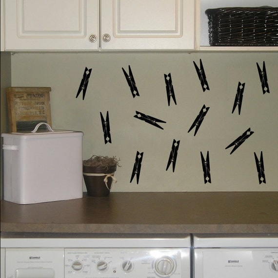 Clothespins Wall Decals - Set of 14 Clothes Pins - Laundry Wall Art - Laundry Room Decal