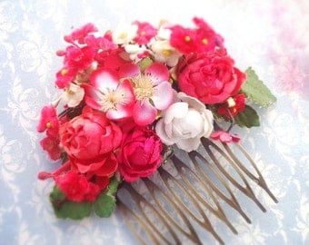 Apple blossom and red mini cabbage rose hair comb