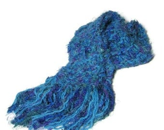 Sale Blue Lagoon Hand Knit Scarf - Turquoise