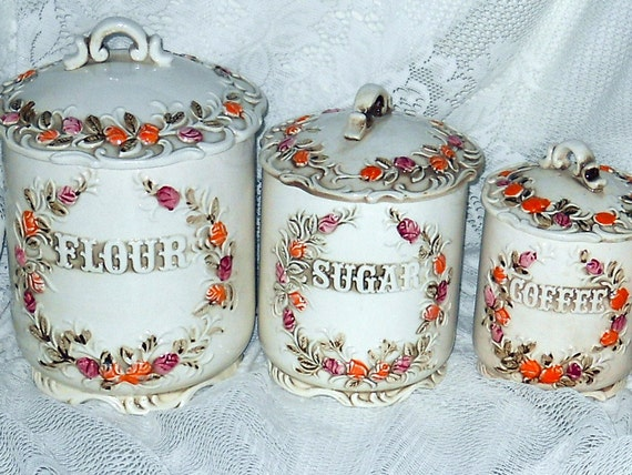 Vintage Canister Set Shabby Chic Ornate Porcelain Flour Sugar Coffee