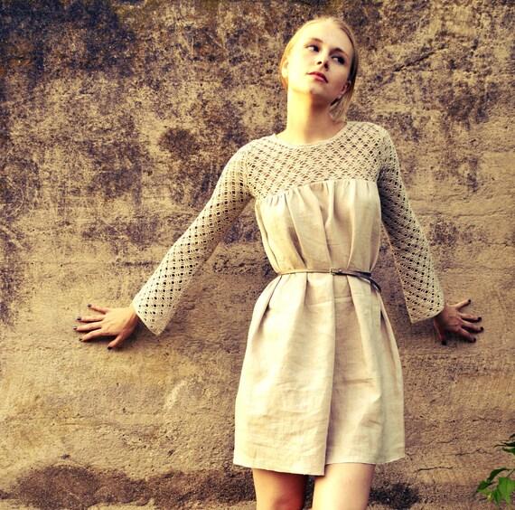 Hand crocheted linen dress/ Natural color linen dress/ Babydoll dress/ Halter dress/  Sheer sleeves/ rusteam bioteam tt team