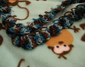 Blue Turquoise Fleece Brown Monkeys Boy Baby Blanket With Blue and Brown Shell Crochet Edge