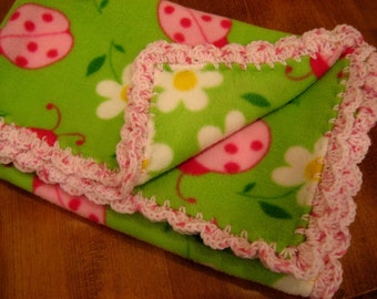 Baby Blanket With Crochet Pink Shell Ruffle - Bright Lime Green With Pink Ladybugs - Baby Girl