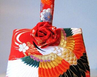 Wedding Purse vintage KIMONO crane flower red embroidery hand bag