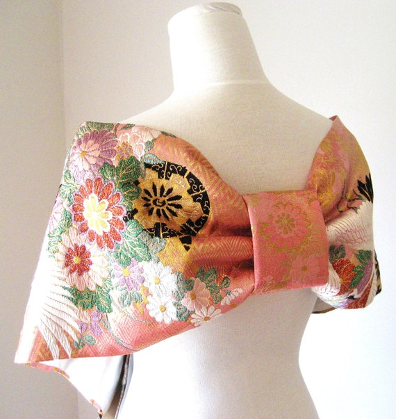 Vintage KIMONO Wedding Shawl GEISHA pink butterfly size free Ready to ship