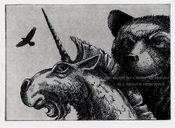 SALE-  Raven artwork , Raven, crow,  Etching. 5 x 7 inch 2010