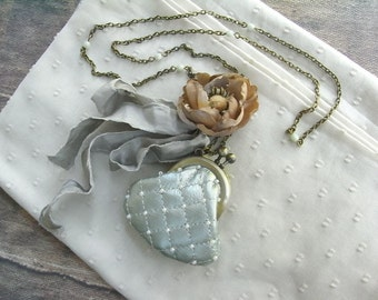 leather purse necklace, mint purse, shabby chic necklace, quilting leather, pearl purse, anemone, poppy necklace, flower purse, pale mint
