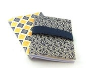 2 pocket size cahier with Italian patterned paper little soft bound journals in blue and yellow