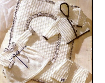 Baby KNITTING PATTERN Baby Dress, Jacket, Waistcoat and Quilt - 12 to 18 in sizes included
