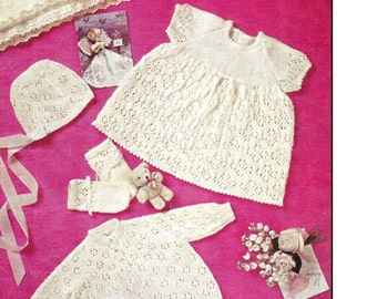 Baby Knitting PATTERN - Dress, Bonnet, Booties, Mitts, Cardigan/Jacket 4ply 18-19 in DOWNLOAD