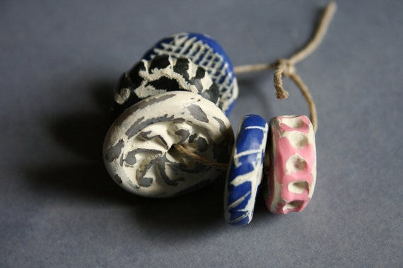 Polymer Clay Beads - Ancient Disc Beads