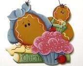 Gingerbread, Cupcake Sign, Handpainted, Home Decor, Wall Art