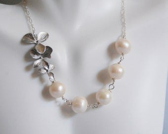 Wedding Jewelry- Bridal Jewelry-Fresh Water pearl and Triple Orchid flower Necklace