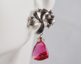 Gemstone Pink  Quartz Dangle Drop Sterling silver Earings- Rhodium plated Flower Earpost