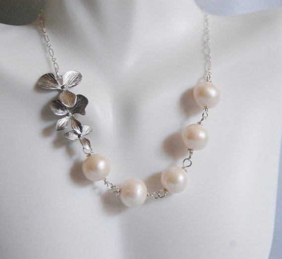 Fresh Flower Jewelry For Brides : Wedding jewelry bridal fresh water pearl and triple