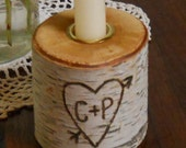 Birch Candle holder Personalized Valentines Day Wedding