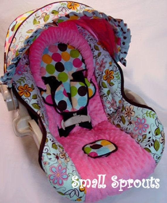 Custom Boutique Blue Floral Dot Infant Car Seat Cover 5 piece set