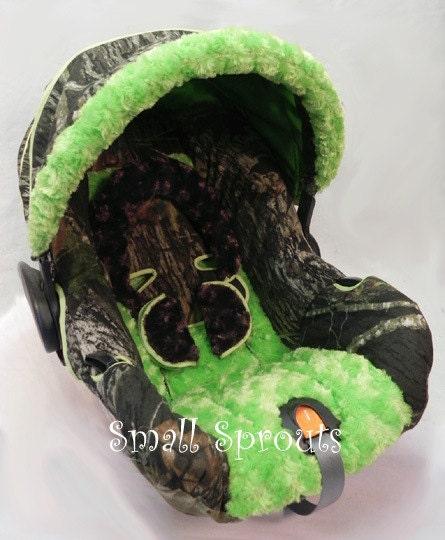 Custom Boutique Mossy Oak Camo Breakup With Lime Green Minky