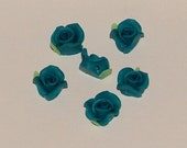 Mid Blue Polymer Clay Rose Flower Beads 10mm
