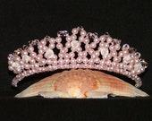 Swarovski Crystal Tiara With Ceramic Roses In Pink Rosaline Pearl And Silk Crystal