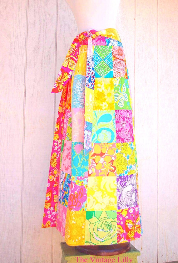 Vintage Lilly Pulitzer Skirt Maxi Reversible Wrap Skirt Patch Fabric Zuzek