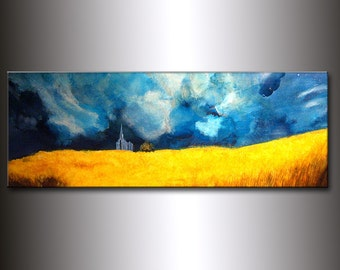 Original landscape Abstract painting, Contemporary Gallery Fine Art by Henry Parsinia 48x18