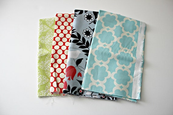 mix of fabrics bundle,  FQ of each, 4 total