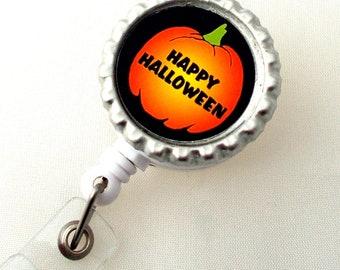 Happy Halloween - Retractable ID Badge Reel - Name Badge Holder - Cute ID Badge Reel - Nurse Badge Holder - Teacher Badge Clip