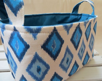 Fabric Organizer, Storage Bin, Container Basket, Carnival Arctic Blue 10 x 5.5 x 6