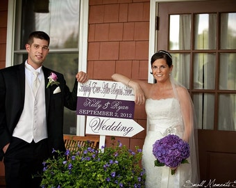 Wedding Direction Sign with Arrow. Custom Wedding Sign for Wedding Reception, Photo Props. Happily Ever After Begins Here.