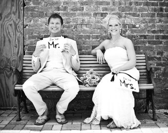 Wedding Chair Signs, I'm her Mr. & I'm his Mrs. with I do Me Too on the back.  6x12 inches, Crisp Paint, 2-sided Photo Prop.